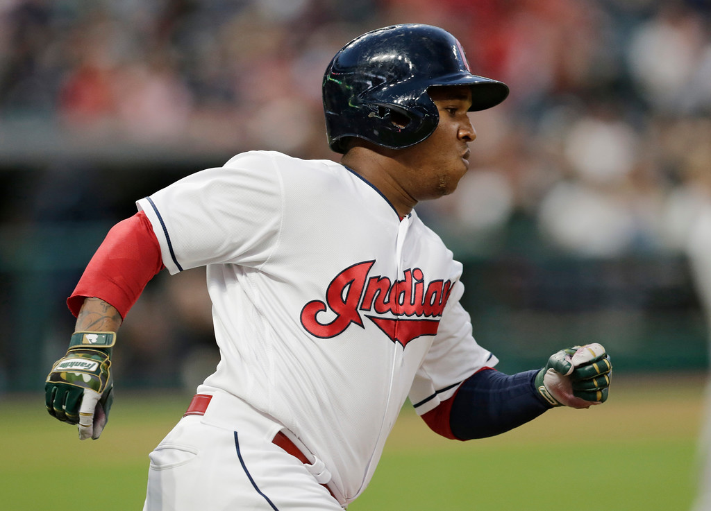 . Cleveland Indians\' Jose Ramirez runs out a single in the eighth inning of a baseball game against the Oakland Athletics, Tuesday, May 30, 2017, in Cleveland. (AP Photo/Tony Dejak)