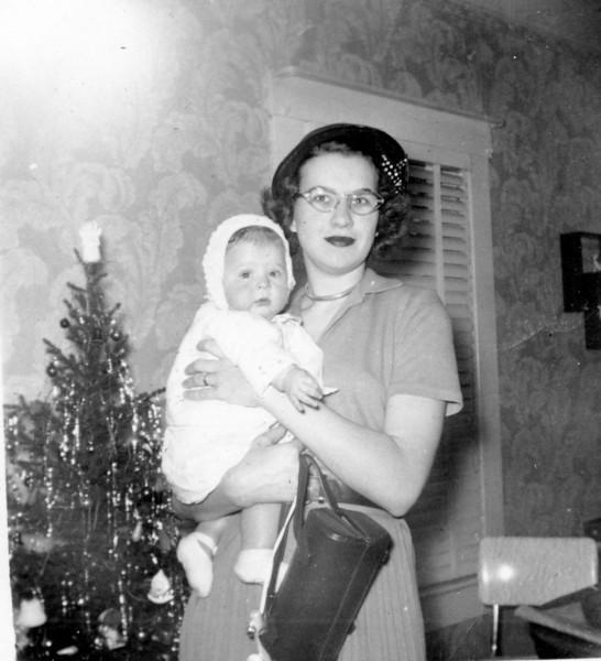 Janice Smock - 4 mos. Maria Jacob Smock Christmas Eve 1951