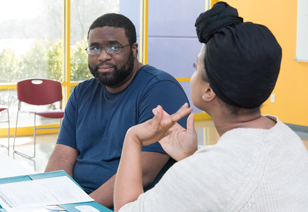 02/13/19 Wesley Bunnell | Staff The New Britain Housing Authority launched a new program on Thursday to help residents with education, financial, mental health and job opportunities. Client Byron Moore speaks with LCSW Kasandra Marbury.