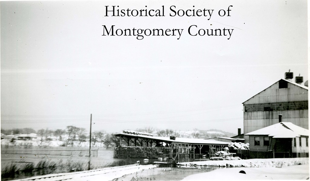 . This photo from the Historical Society of Montgomery County shows another view of the Hamilton Paper Company in Whitemarsh during a flood. The Historical Society believes this flood occurred in November 1950.