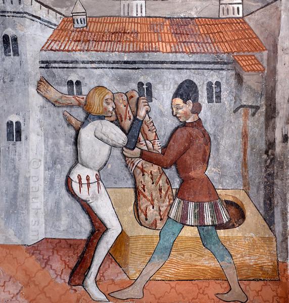 Fresco of St. Sebastian being thrown in a sewer, Venanson.