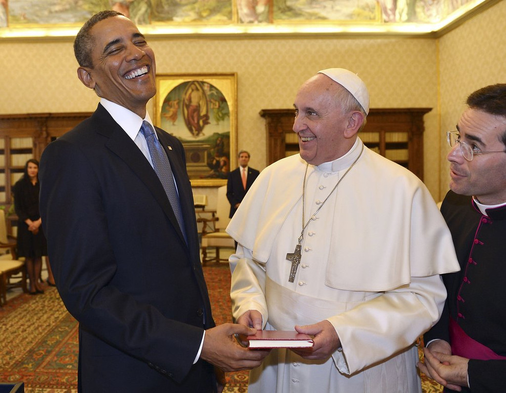 """. <p>3. BARACK OBAMA <p>MSNBC reporting His Holiness was impressed in his first meeting with Pope Francis. (4) <p><b><a href=\'http://www.twincities.com/breakingnews/ci_25431103/white-house-notebook-obama-meets-your-holiness\' target=\""""_blank\""""> HUH?</a></b> <p>    (AP Photo/Gabriel Bouys, Pool)"""