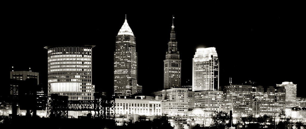 1/6/12 Cleveland<br /> <br /> Cleveland skyline in black and white