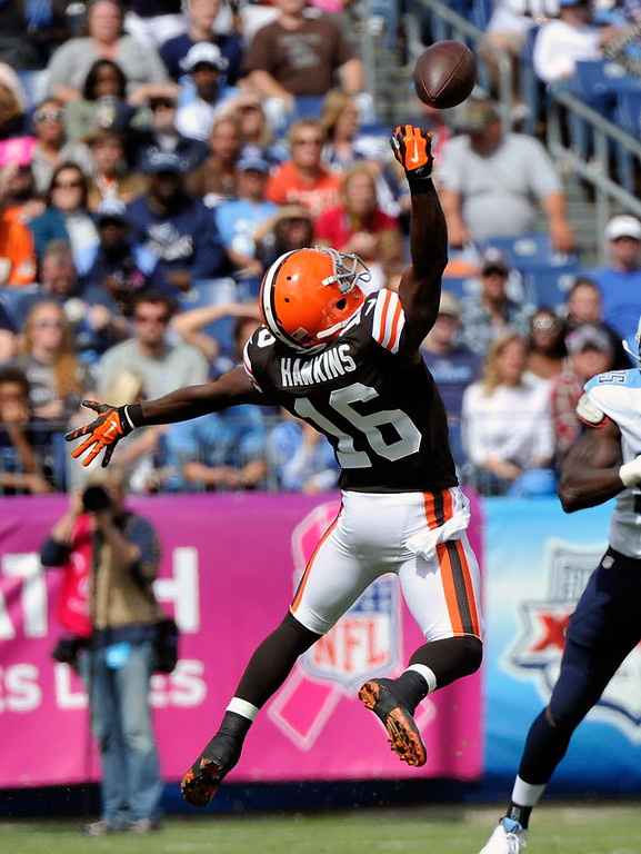 . Andrew Hawkins #16 of the Cleveland Browns jumps for a pass during a game against the Tennessee Titans at LP Field on October 5, 2014 in Nashville, Tennessee.  (Photo by Frederick Breedon/Getty Images)