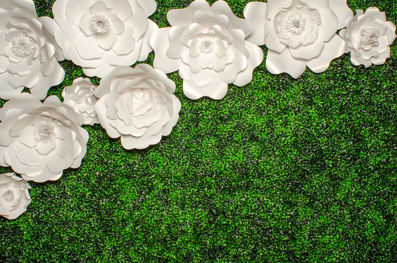 Boxwood w/ Handmade White Paper Flowers