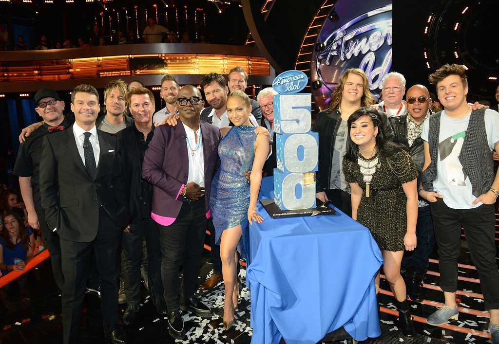 . AMERICAN IDOL XIII: FOX and AMERICAN IDOL celebrate the 500\'TH AMERICAN IDOL episode airing Wednesday, May 14 (8:00-10:00 PM ET / PT) on FOX.  Pictured: The top three finalists join Ryan Seacrest, Randy Jackson, Jennifer Lopez, Harry Connick, Jr, Keith Urban, Creator and Exec producer Simon Fuller and other producers and executives from Fremantle, FOX and AMERICAN IDOL on stage to celebrate the 500\'TH episode od AMERICAN IDOL. CR: Michael Becker / FOX. Copyright 2014 / FOX Broadcasting.