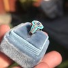 2.23ct Art Deco Emerald Cut and Turquoise Halo Ring 17