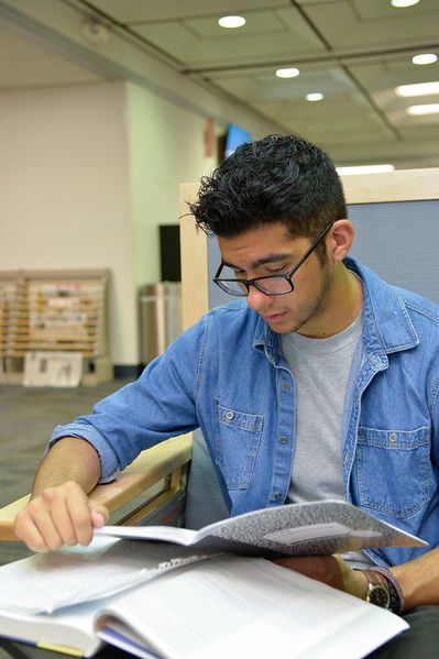 Jonathan Smith studies for his upcoming Criminal Justice Test.