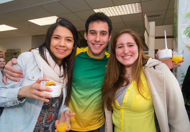 "04/03/2015. Free To Use Image. Pictured at WIT (Waterford Institute of Technology) where Brazilian students celebrated ""Carnaval"". The students celebrated all things Brazilian. Pictured are students Kamyla Castro Rodrigues, Raphael Ramos Bernadino and Leticia Sena.  Picture Patrick Browne."