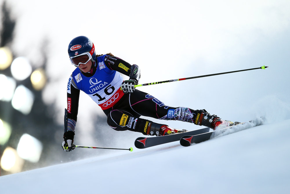 Description of . Mikaela Shiffrin of the United States of America skis in the Women\'s Giant Slalom during the Alpine FIS Ski World Championships on February 14, 2013 in Schladming, Austria.  (Photo by Clive Rose/Getty Images)