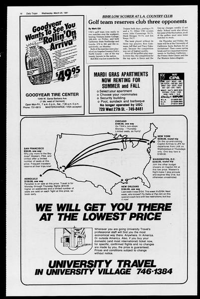 Daily Trojan, Vol. 90, No. 34, March 25, 1981