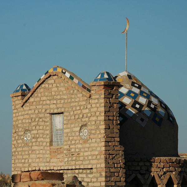 Mizdakhan Mausoleum with Moon and Mosaic - Nukus, Uzbekistan