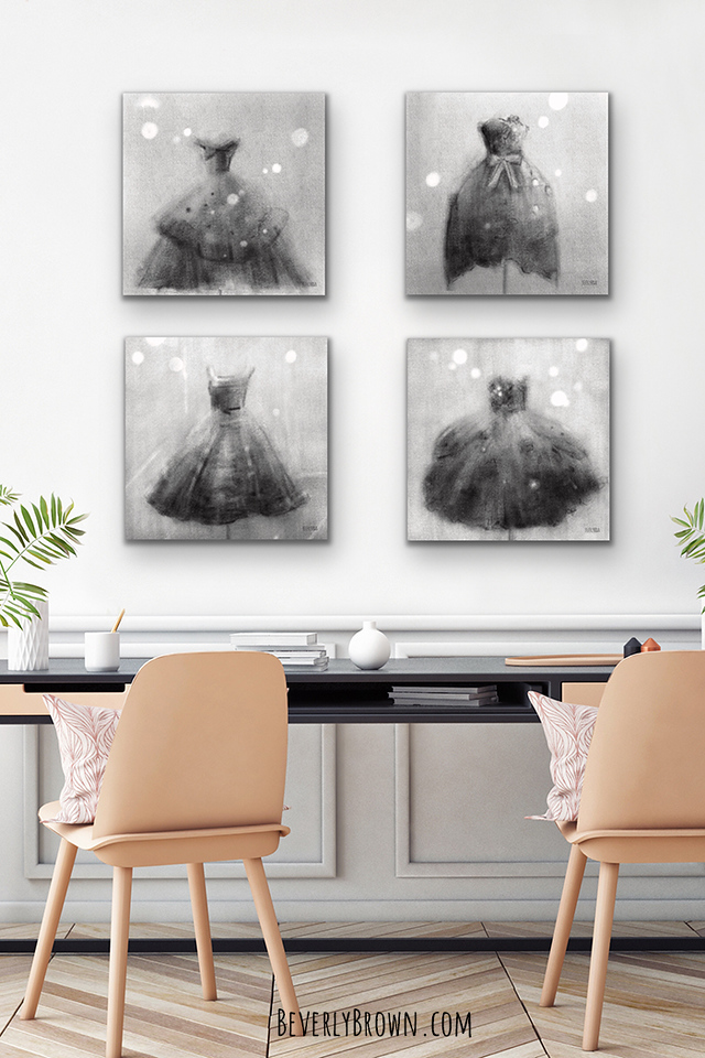 Black and White Fashion Prints Gallery Wall in Glam Office