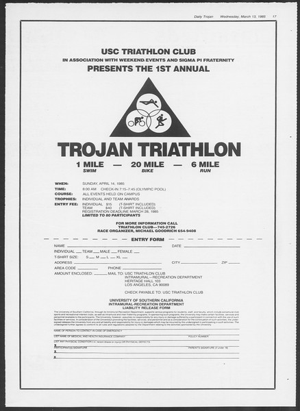 Daily Trojan, Vol. 98, No. 42, March 13, 1985