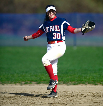 4/17/2019 Mike Orazzi | Staff St. Paul softball's Jessica Persechino (30) during Wednesday's game with Watertown in Bristol.