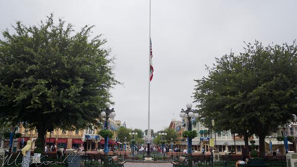 Disneyland Resort, Disneyland, Flag, Pole, Half, Staff, Victims, Respect, Main Street USA
