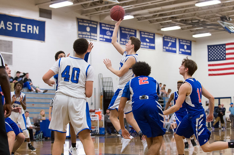 01/07/19  Wesley Bunnell | Staff\r\rBristol Eastern boys basketball in a home game vs Plainvillle on Monday night. Elijah Parent (12).