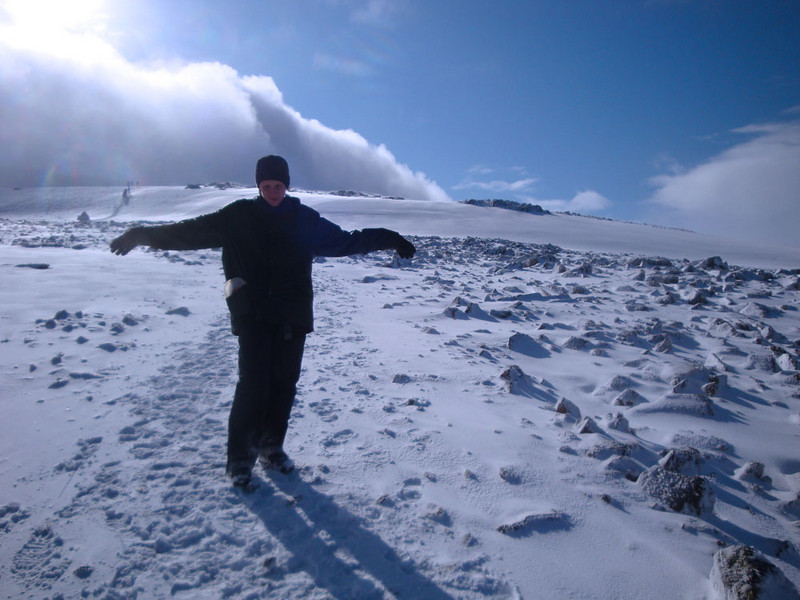 Andrew Taylor on Ben Nevis. This was the only minute during the five hour ascent in which the sun cleared.