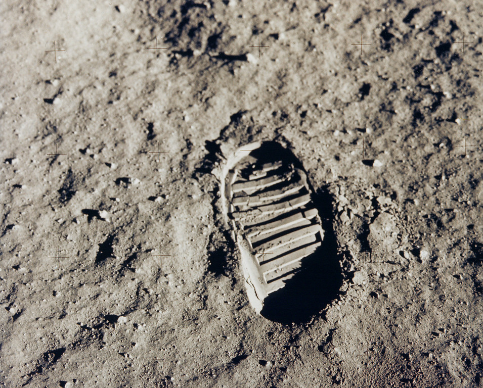 . This NASA handout picture taken on July 20, 1969, shows one of the first steps, astronaut Buzz Aldrin\'s bootprint, taken on the Moon as part of the Apollo 11 mission. With one small step off a ladder, Neil Armstrong became the first human to set foot on the moon on July 20, 1969, before the eyes of hundreds of millions of awed television viewers worldwide. With that step, he placed mankind\'s first footprint on an extraterrestrial world and gained instant hero status. Joined by fellow astronaut Buzz Aldrin, Armstrong spent about two and a half hours exploring the landscape around the landing site. Handout/AFP/Getty Images