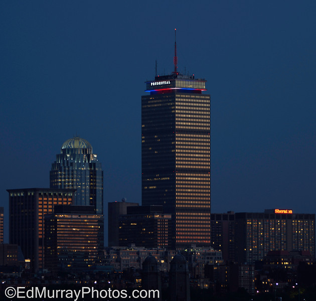 "Red, White and Pru:   Boston's Prudential Center (known locally as ""The Pru"") is light up for Independence Day  7/10/2013"