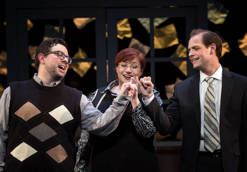 . Trey Gilpin, left, Amiee Collier and Eric Fancher perform in Lakeland Civic Theatre�s �Merrily We Roll Along.� The show continues through Feb. 18. For more information, visit lakelandcc.edu/arts.  (Kathy Sandham)