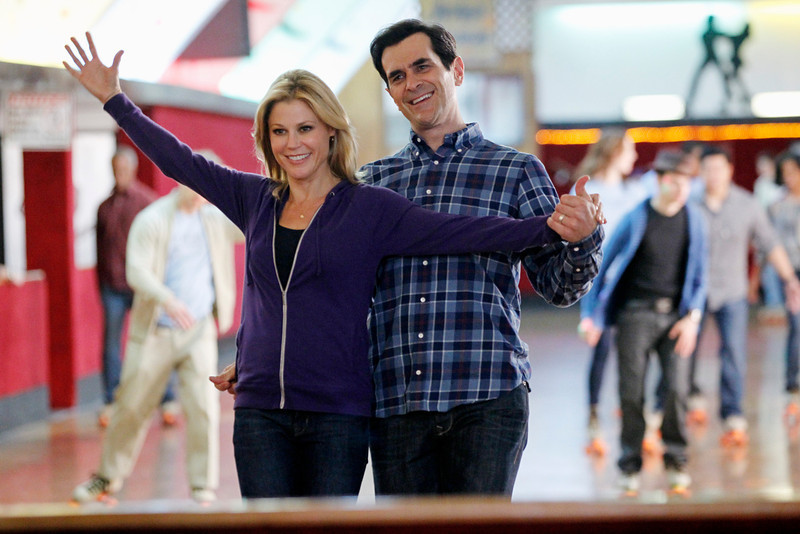 ". This image released by ABC shows Julie Bowen, left, and Ty Burrell in a scene from ""Modern Family.\""  The program was nominated for an Emmy Award for best comedy series, Thursday, July 18, 2013. Bowen and Burrell were also nominated for best supporting actress and actor in a comedy series. The Academy of Television Arts & Sciences\' Emmy ceremony will be hosted by Neil Patrick Harris. It will air Sept. 22 on CBS. (AP Photo/ABC, Peter \""Hopper\"" Stone)"
