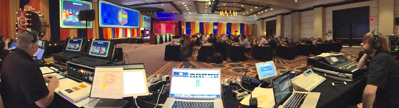 "View from the tech table for ""The Price is Right"" themed sales meeting."
