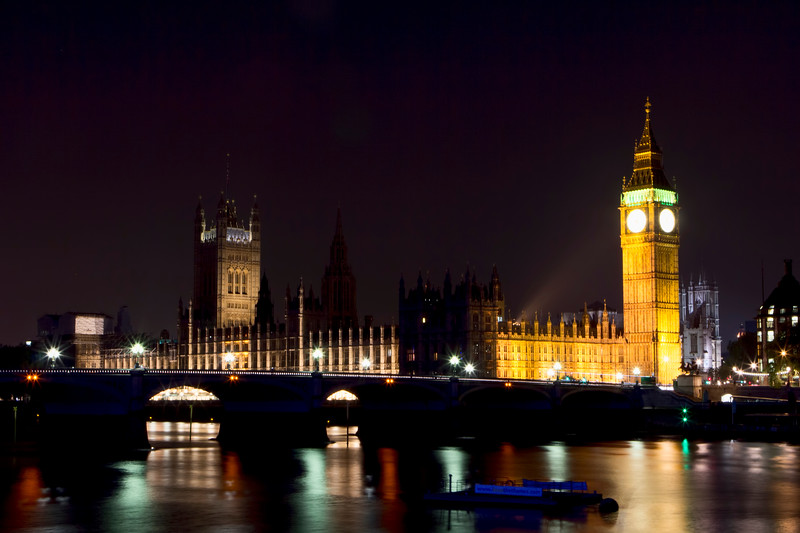 Big Ben, The Palace of Westminster, and the River Thames
