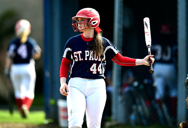 4/17/2019 Mike Orazzi | Staff St. Paul softball's Abby Poirot (44) during Wednesday's game with Watertown in Bristol.