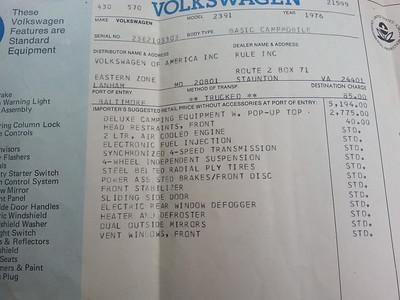Bobby Gordon's 1976 Volkswagen Westfalia