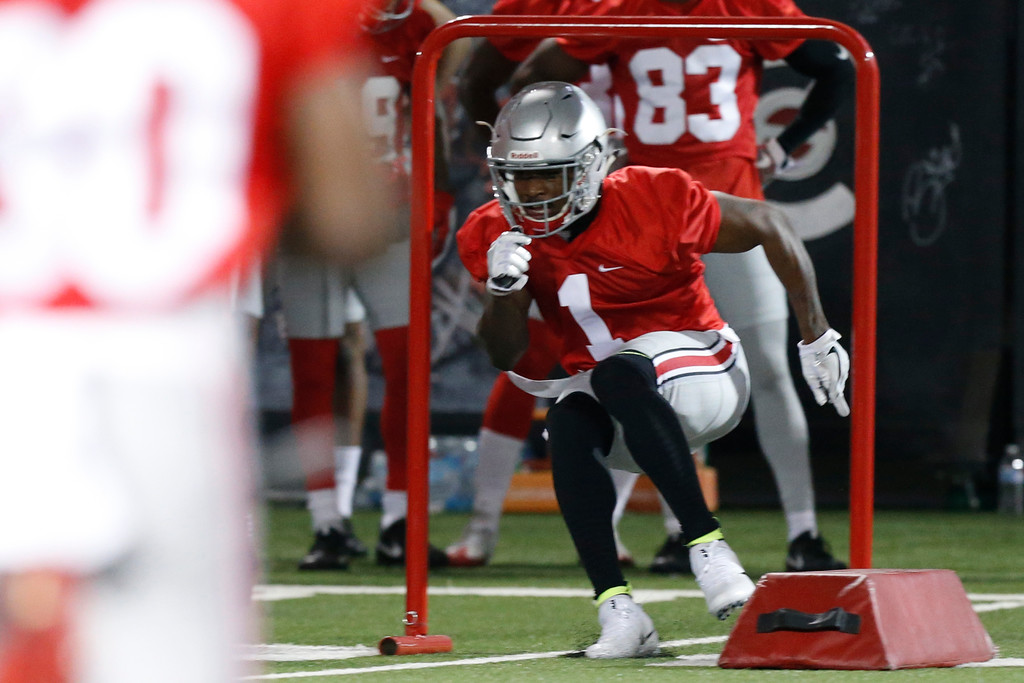 . Ohio State wide receiver Johnnie Dixon runs a drill during their Spring NCAA college football practice Tuesday, March 7, 2017, in Columbus, Ohio. (AP Photo/Jay LaPrete)