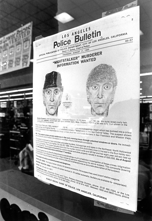 . An August 29, 1985, Los Angeles Police Department bulletin included a composite drawing and a request for assistance from the public.  (Daily News file photo)