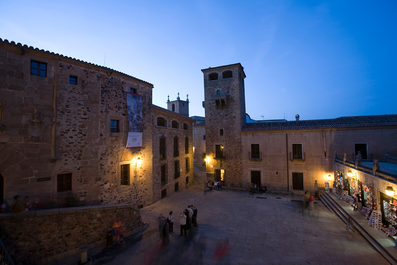 San Jorge square at dusk, Caceres, Spain