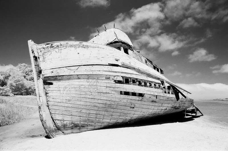 Point Reyes shipwreck shot with Rollei Infrared 400 film
