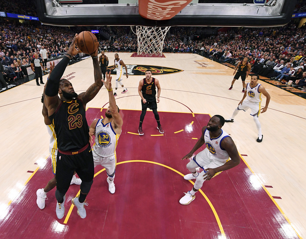 . Cleveland Cavaliers\' LeBron James shoots during the first half of Game 3 of basketball\'s NBA Finals against the Golden State Warriors, Wednesday, June 6, 2018, in Cleveland. (Kyle Terada/Pool Photo via AP)
