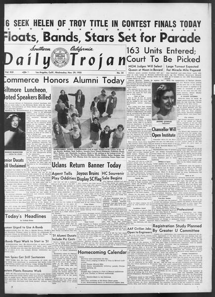 Daily Trojan, Vol. 42, No. 50, November 29, 1950