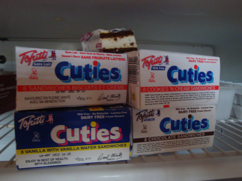 The vegan options are limited compared to my pampered life in the UK. They do have tofutti cuties for desert, however - and little else!