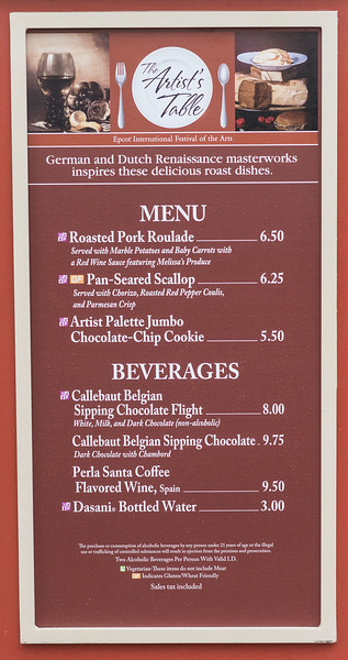 The Artist's Table Full Menu with Prices - Epcot International Festival of the Arts 2017