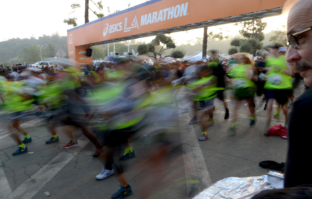 . The start of the L.A. Marathon at Dodgers Stadium in Los Angeles March 17, 2013. (Thomas R. Cordova/Staff Photographer)