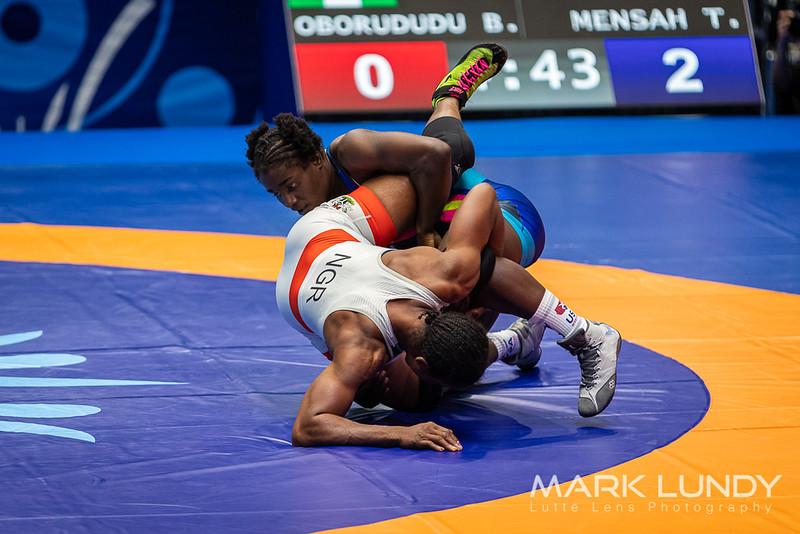 Champ. Round 2: Tamyra Mariama Mensah (United States) over Blessing Oborududu (Nigeria)  •  Dec 6-1 - 2019 World Championships
