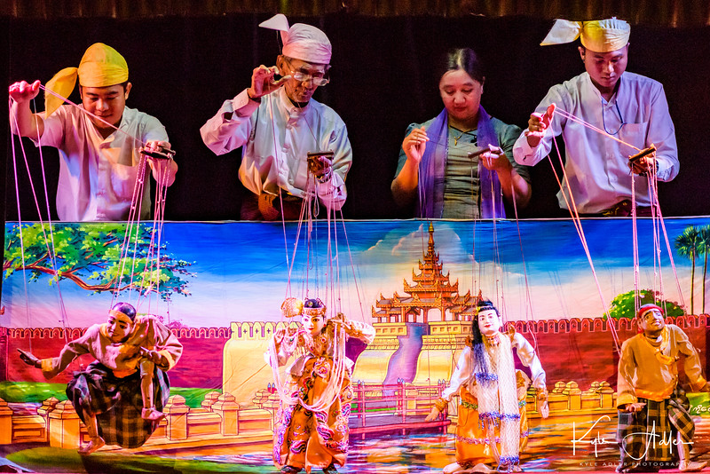 The master puppeteer takes a turn during the final number of the Mandalay marionette show.  He's the second from the left in the photo.  We had the chance to meet him after the show.