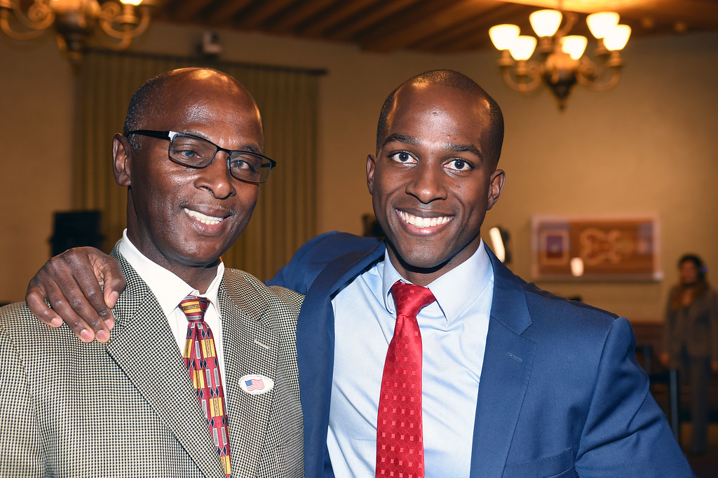 . Tyrone Hampton Senior poses with his son Tyrone Hampton who is a  City Council District 1, candidateTyron Hampton leading Calvin Wells in votes in a close election at city hall on election night.(Photo by Walt Mancini/Pasadena Star-News.)