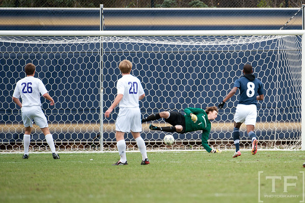 Nov 13, 2011; Ann Arbor, MI, USA; Penn State Nittany Lions midfielder Minh Vu (not pictured) scores on Northwestern Wildcats goalkeeper Tyler Miller (1)  in the first half at the final game of the 2011 Big Ten Championship at Michigan Soccer Stadium. Mandatory Credit: Tim Fuller-US PRESSWIRE