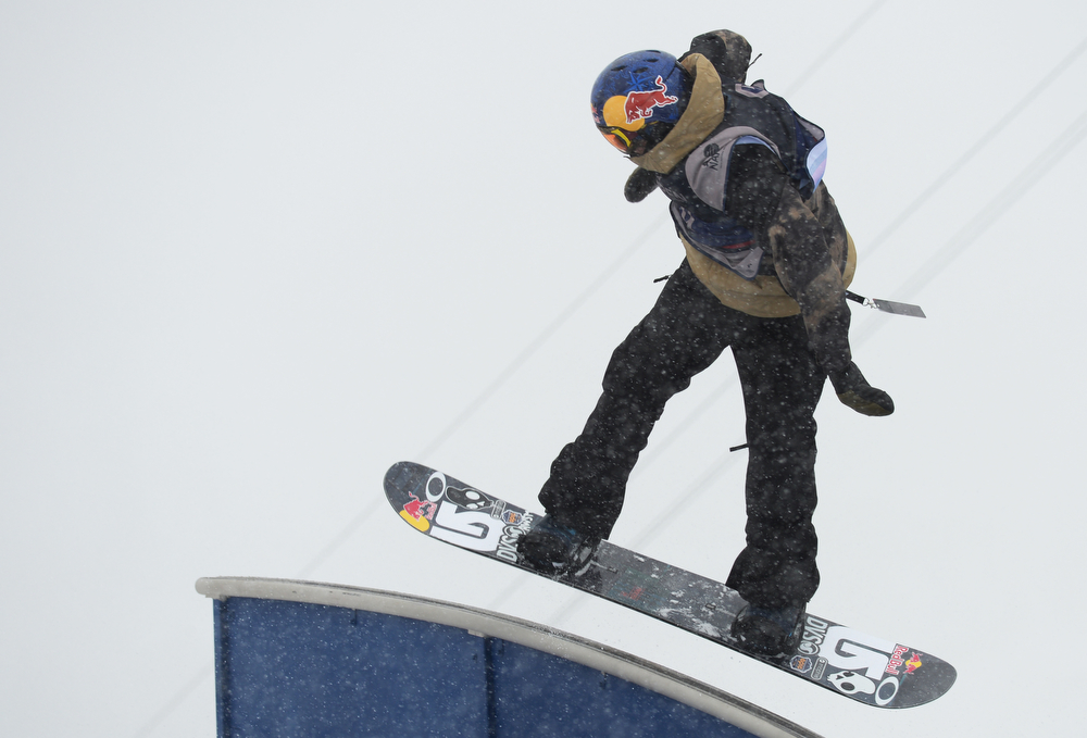 . Mark McMorris of Canada is in action during the men\'s slope style final of the Burton U.S. Open. Vail, Colorado. March 7. 2014. McMorris won the final. (Photo by Hyoung Chang/The Denver Post)