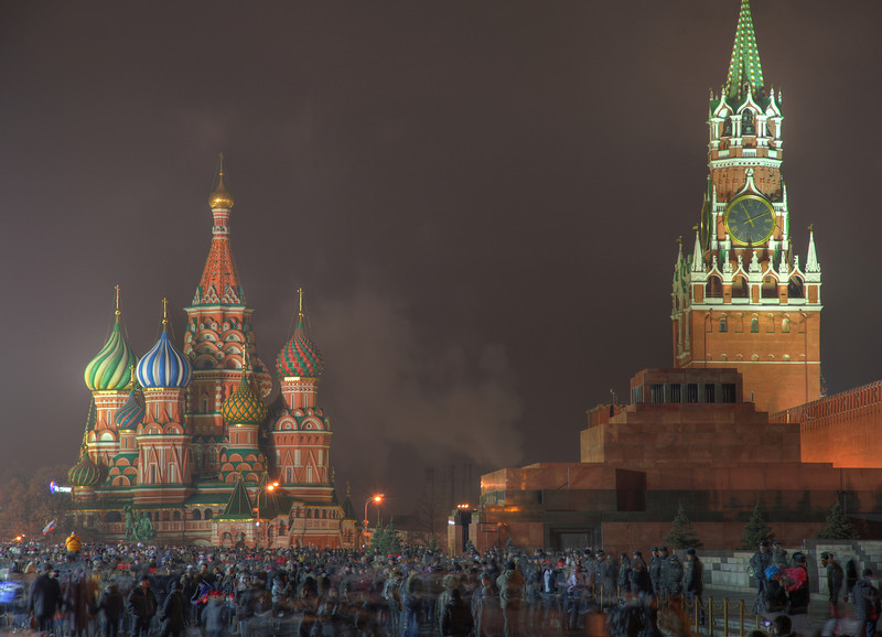 Crowds gather in anticipation of New Year's Eve fireworks over the Kremlin. December 31, 2011; Moscow, Russia. (HDR)