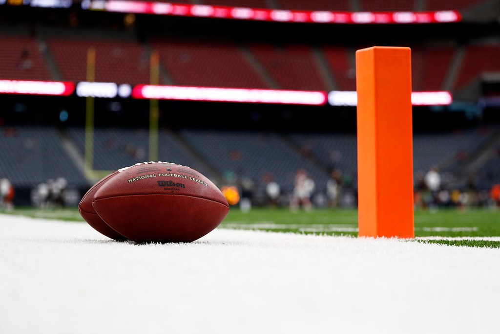 . A football sits in the end zone before an NFL football game between the Cleveland Browns and Houston Texans on Sunday, Oct. 15, 2017, in Houston. (AP Photo/Eric Gay)
