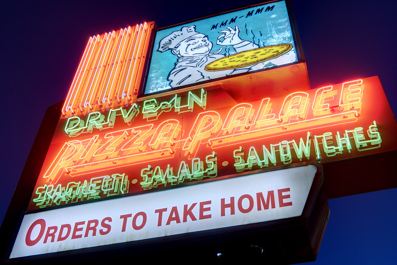 The iconic sign for the locally owned Pizza Palace in Knoxville, TN on Friday, December 12, 2014. Copyright 2014 Jason Barnette