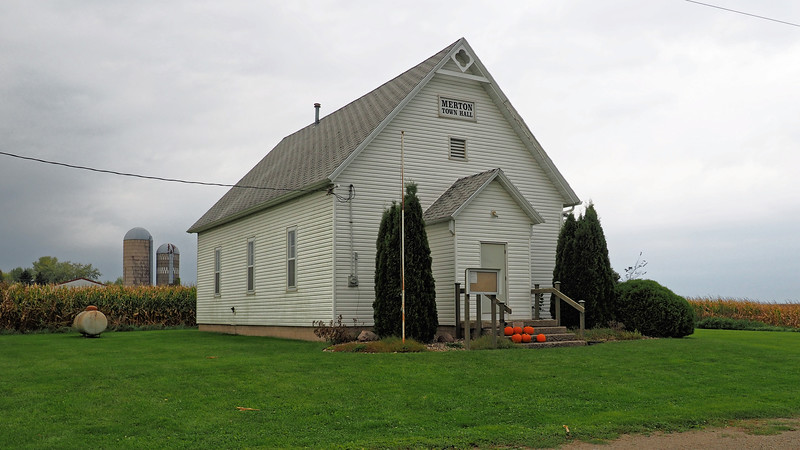 Merton Town Hall at the junction of Steele County roads 12 and 8.