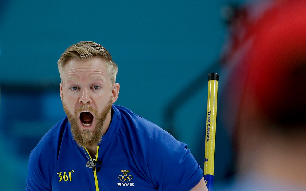 . Sweden\'s skip Niklas Edin reacts during the men\'s final curling match against United States at the 2018 Winter Olympics in Gangneung, South Korea, Saturday, Feb. 24, 2018. (AP Photo/Natacha Pisarenko)