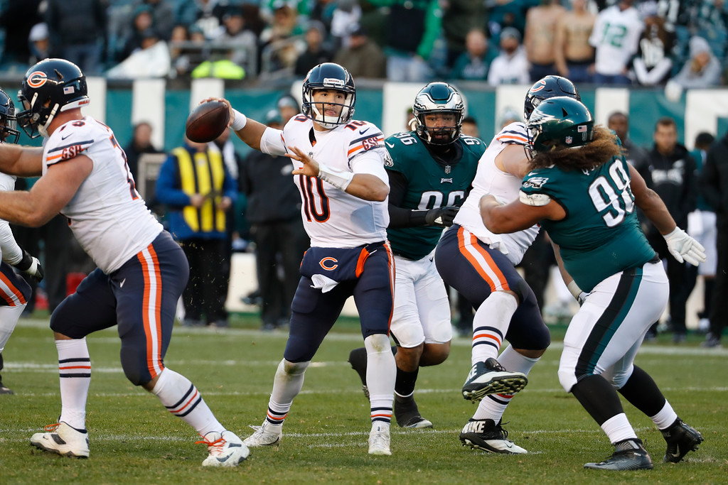 . Chicago Bears\' Mitchell Trubisky passes during the second half of an NFL football game against the Philadelphia Eagles, Sunday, Nov. 26, 2017, in Philadelphia. (AP Photo/Chris Szagola)
